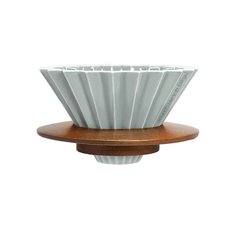 新品霧色預購 日本ORIGAMI 摺紙咖啡陶瓷濾杯組 S 含杯座 木質樹脂2款可選 預購