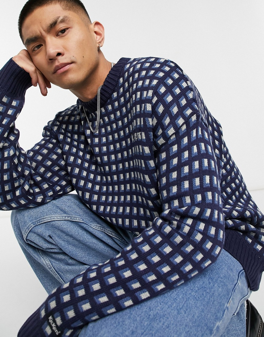 Kickers pattern knitted jumper in navy