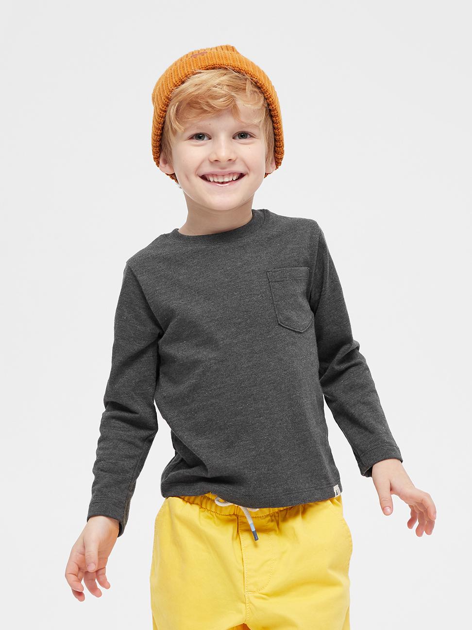 幼童 活力亮色圓領休閒長袖T恤