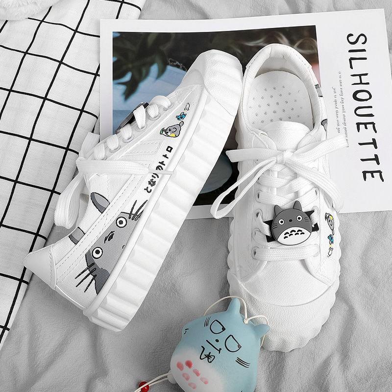 【現貨ins女鞋】☂帆布鞋女2020年秋季新款ulzzang百搭板鞋學生韓版涂鴉ins小白鞋女