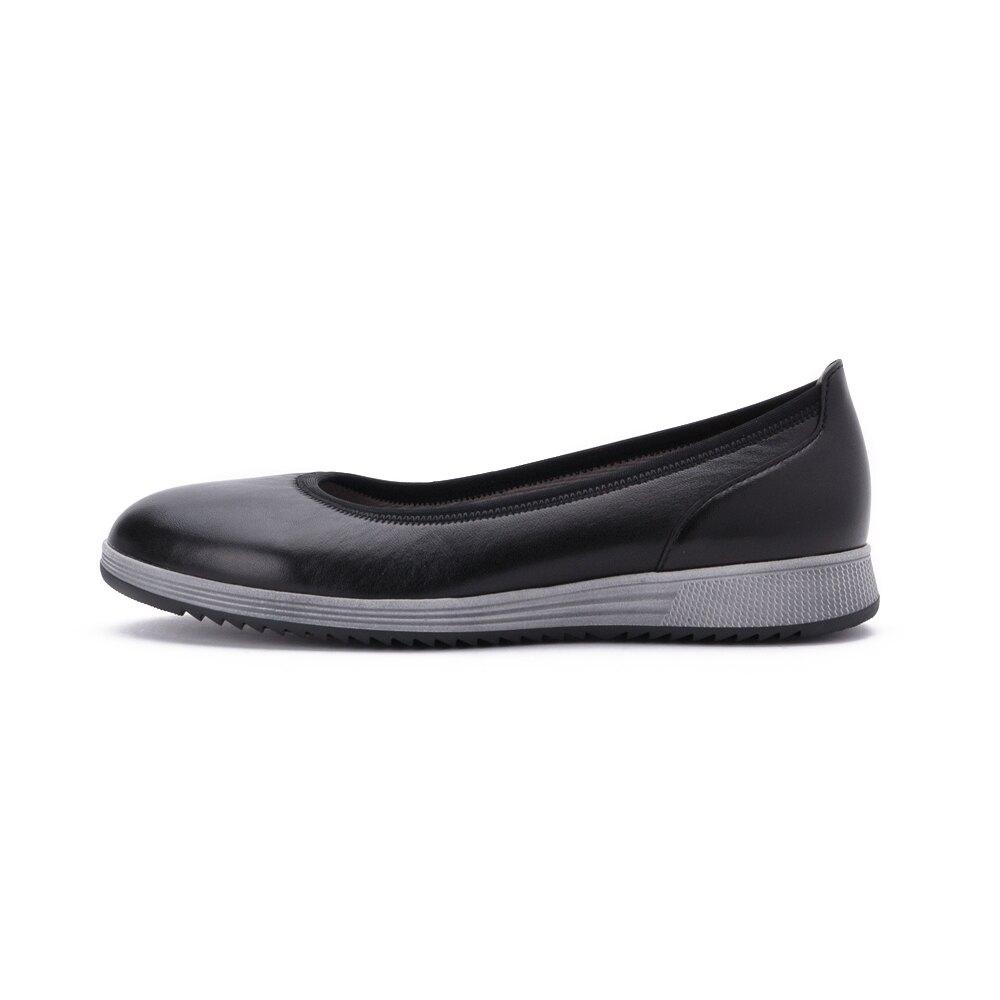 【領券折350】GABOR 運動系列 光滑皮革芭蕾平底鞋 黑皮 54.110.27 女鞋