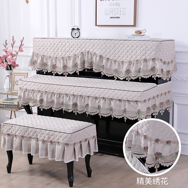 鋼琴罩  鋼琴罩半罩現代簡約三件套歐式布藝北歐防塵蓋布巾全罩琴凳套美式『CM396266』