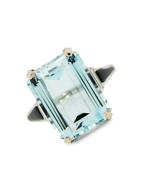 Vintage Platinum & Natural Aquamarine Baguette Ring