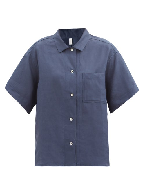 Rossell England - Patch-pocket Linen Pyjama Shirt - Womens - Navy