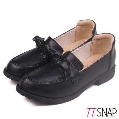 TTSNAP樂福鞋-蝴蝶結柔軟百搭學生紳士鞋 黑