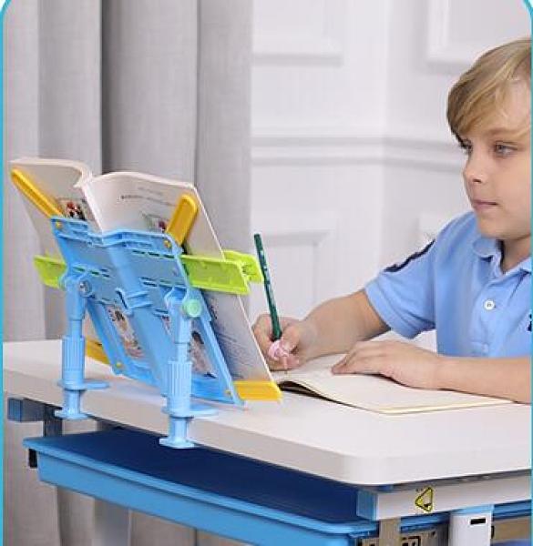 讀書架 桌邊閱讀架小學生兒童看書本支架多功能讀書架簡易折疊創意書托夾【快速出貨八折鉅惠】