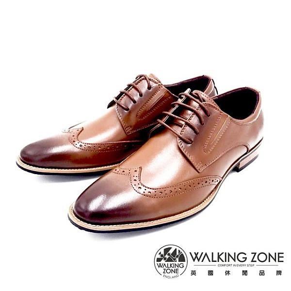 【南紡購物中心】WALKING ZONE 工藝車縫木頭跟綁帶男皮鞋-棕(另有黑)
