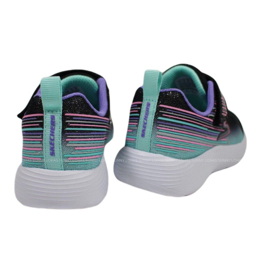(BX) SKECHERS 女童鞋 DYNA-LITE 休閒運動鞋 魔鬼氈 302456LBKMT黑亮粉【陽光樂活】