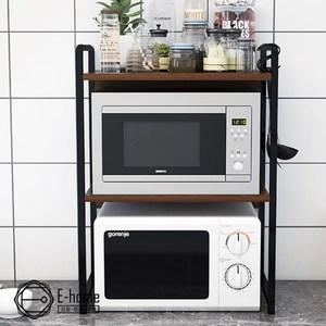 E-home 雙層防掉廚房電器收納置物架-兩色可選棕色