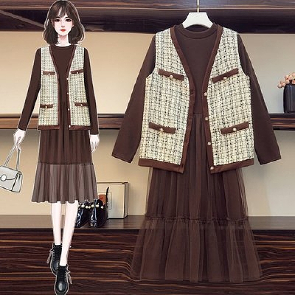 時尚穿搭外套連身裙中大尺碼L-4XL韓版大碼女裝網紅風馬甲顯瘦網紗拼接套裝4F093-3883.胖胖唯依