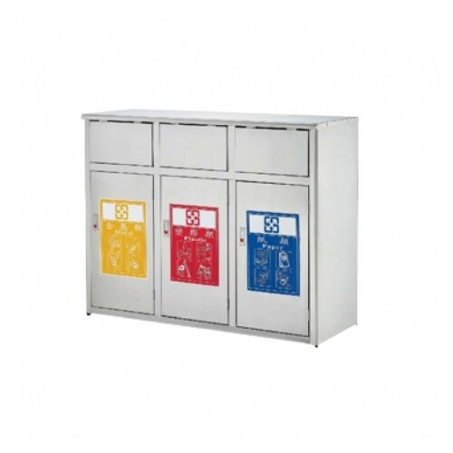 三分類不鏽鋼垃圾桶 推板式 / 台 ST3-310B