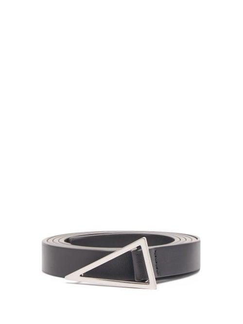 Bottega Veneta - Triangle-buckle Leather Belt - Mens - Black Silver
