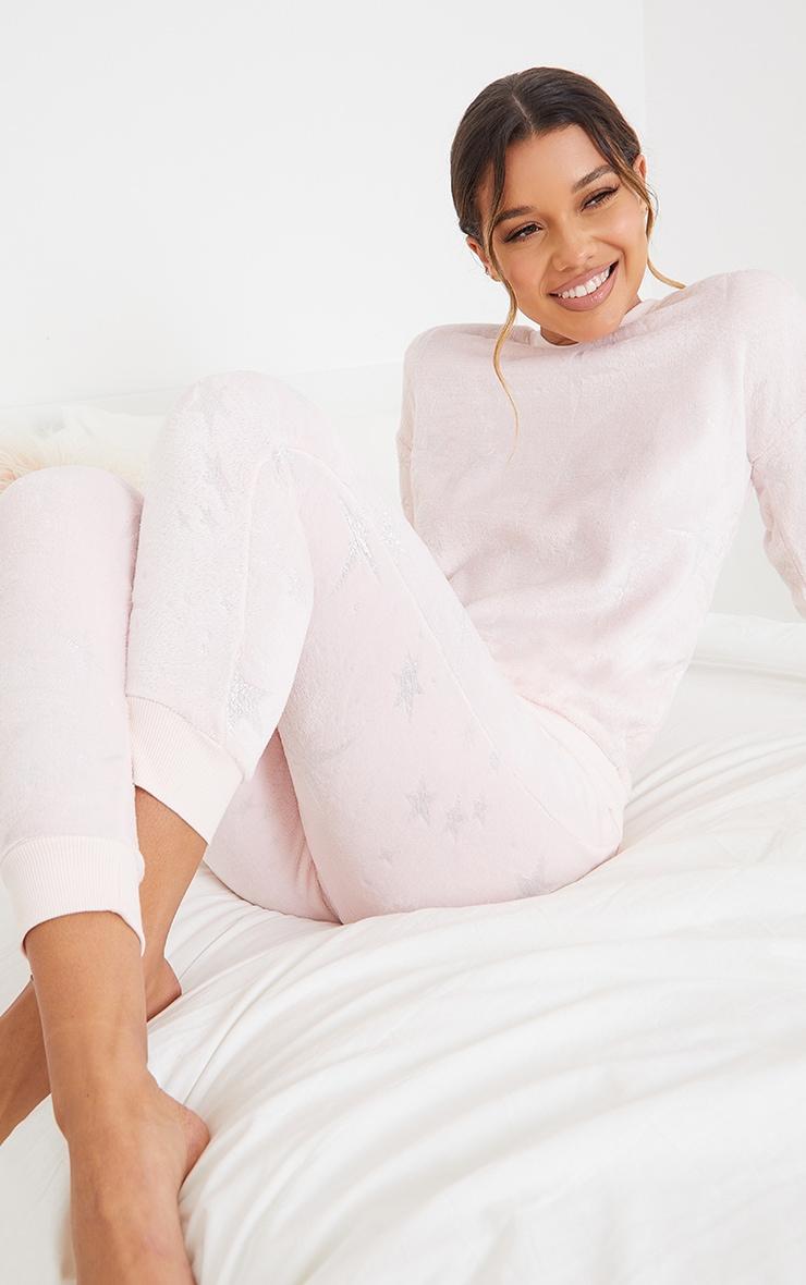 Pale Pink Foil Star Print Super Soft Long Pants PJ Set