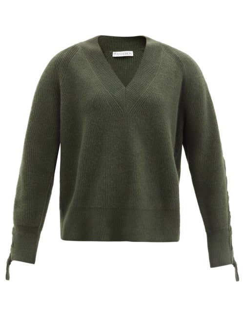 JW Anderson - Cable-knitted Alpaca And Yak Wool-blend Sweater - Womens - Khaki