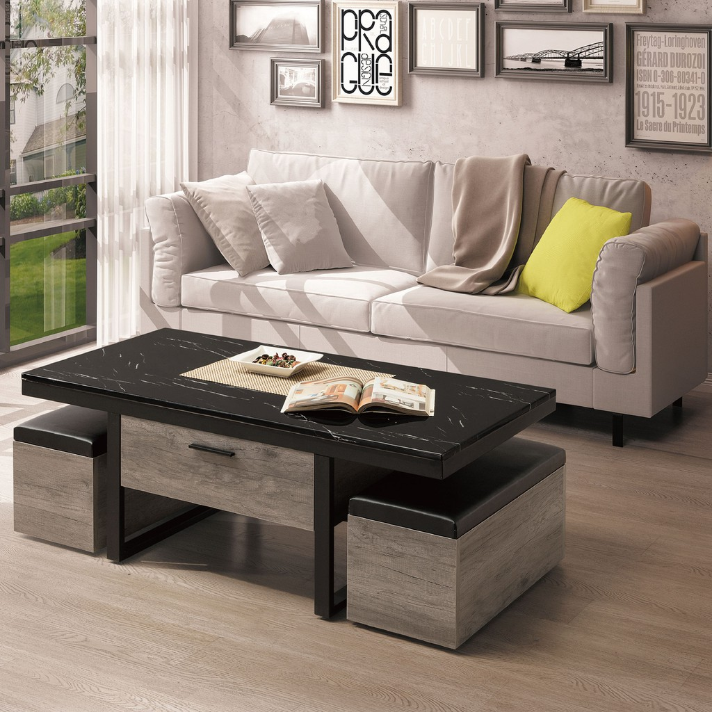 【120cm石面大茶几-B242-01】實木原木玻璃 大理石長方桌 大小邊几 圓桌 【金滿屋】