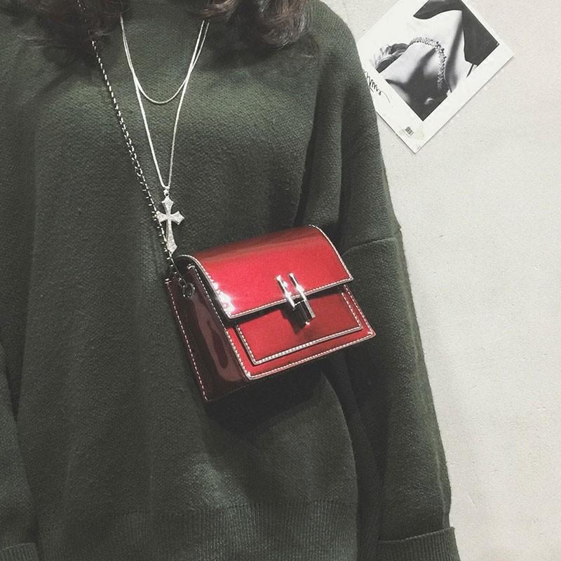 新款女包同款漆皮女包包斜挎包單肩包女學生鏈條包女韓版