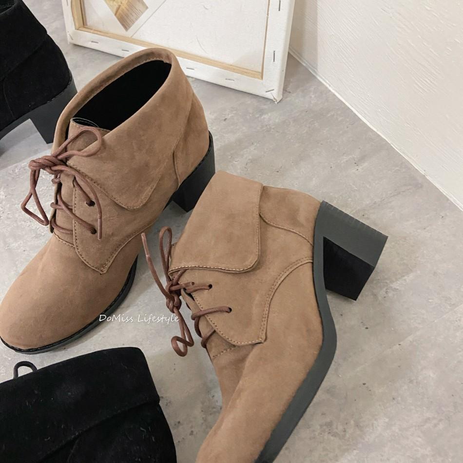 DoMiss甜美麂皮絨中跟短靴-2色