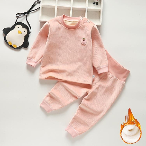 嬰兒柔軟加絨秋褲男童女童加厚衣服兒童保暖內衣套裝寶寶秋冬秋衣 歐歐