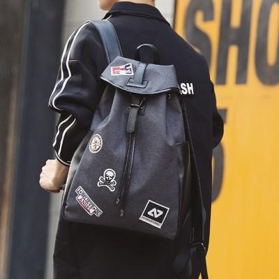 原創新款灰色男女雙肩背包 潮流帆布學生書包 徽章包蓋抽繩雙肩包