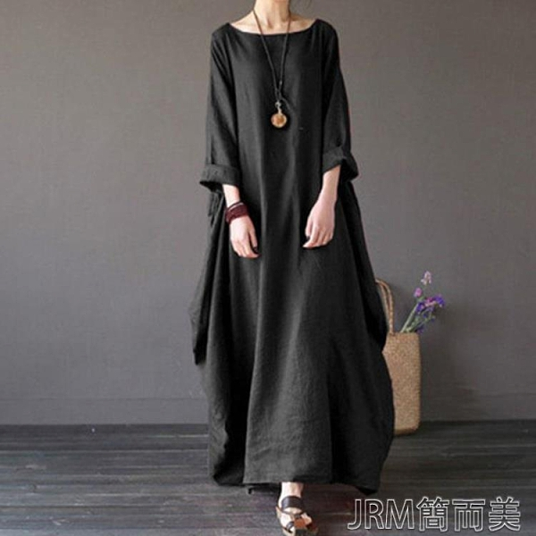 棉麻洋裝棉麻連身裙女春秋民族風大碼女裝加長裙寬鬆文藝純色亞麻袍 快速出貨