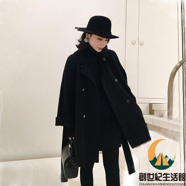 毛呢外套秋冬黑色雙面羊絨大衣女短款斗篷【創世紀生活館】