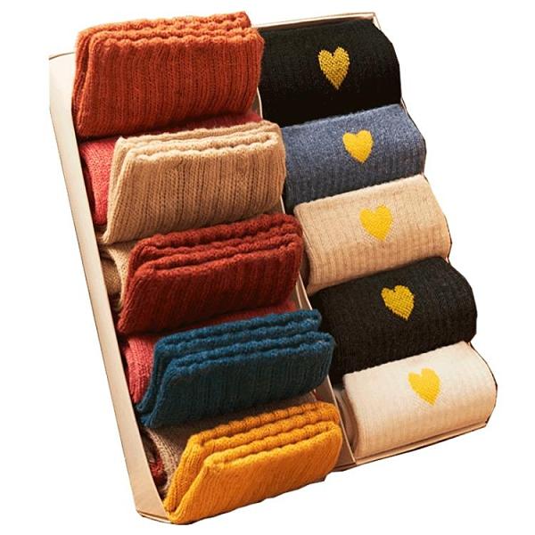 10雙 襪子女長襪加絨加厚日系保暖毛圈女襪【邻家小鎮】