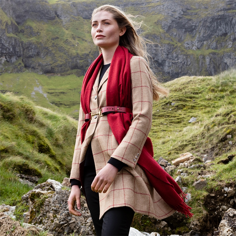 Magee 1866 Camel & Red Checked Grace Donegal Tweed Coat