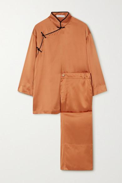Olivia von Halle - Harlow 丝缎睡衣套装 - 红铜色 - medium