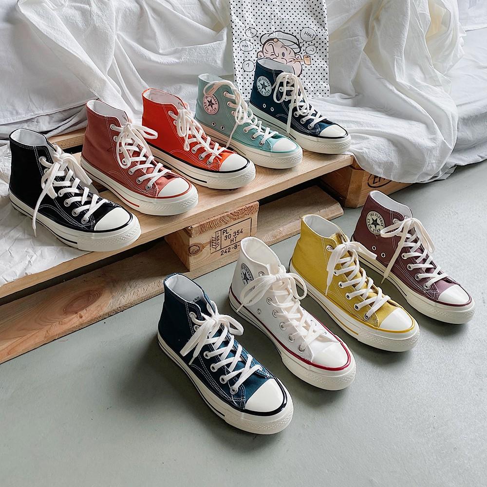 1970s高幫經典港風ulzzang街拍帆布鞋2020春季新款百搭休閑板鞋潮