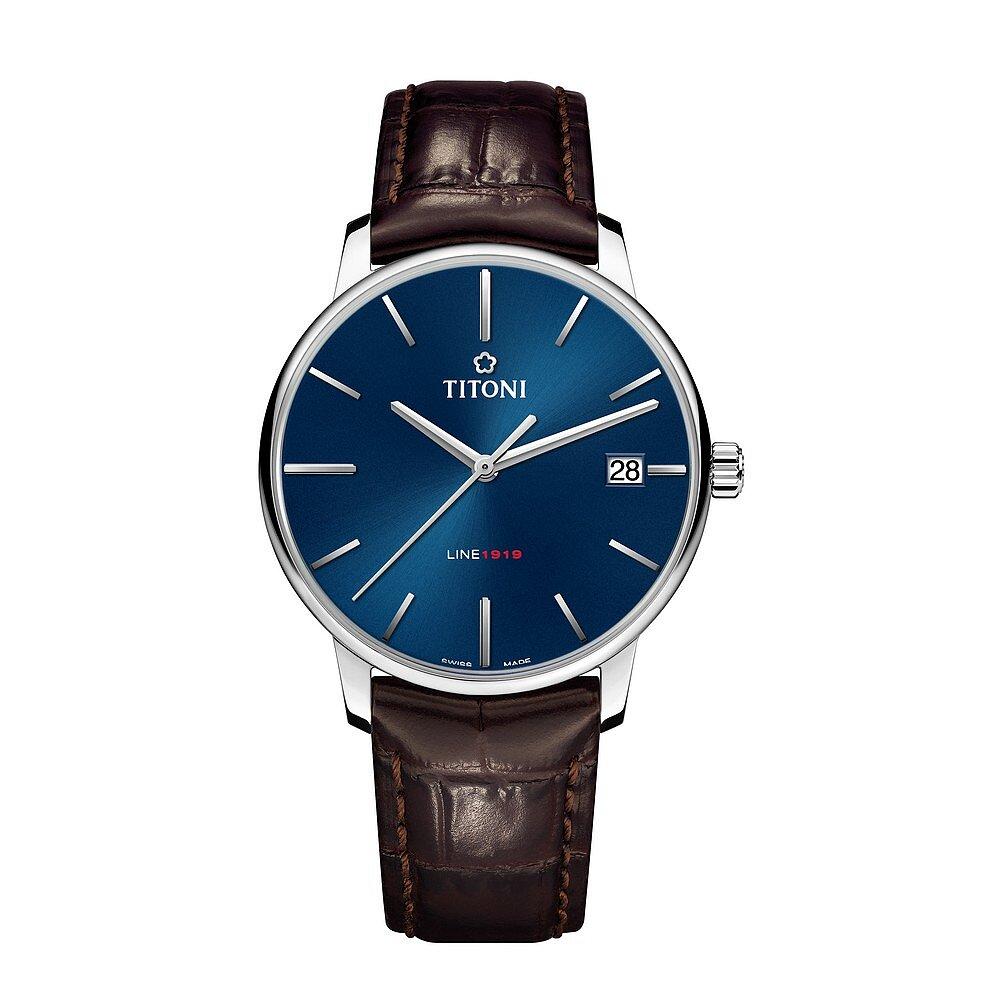 TITONI瑞士梅花錶 LINE1919 百周年系列 T10超薄自製機芯 40mm 藍面皮帶 83919 S-ST-612