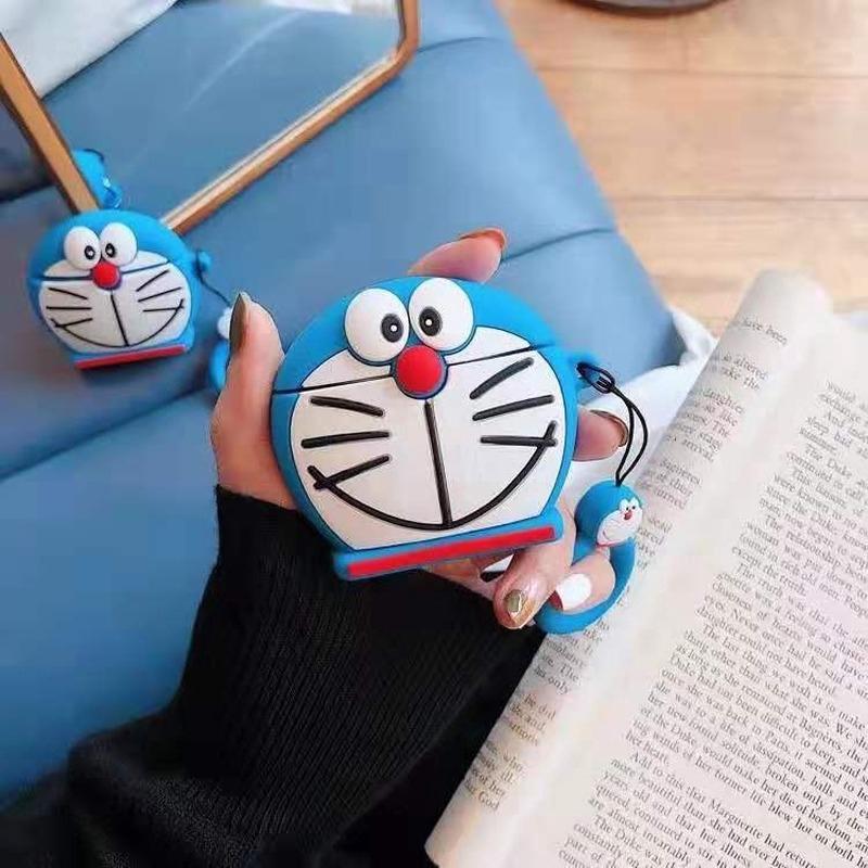 卡通適用叮當貓Airpods1/2保護套蘋果無線藍牙耳機硅膠軟殼收納盒