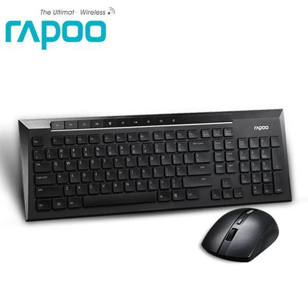 雷柏 Rapoo 8200P-黑2.4G無線光學鍵鼠組 NANO接收器 光學引擎 省電技術 巧克力防潑水鍵盤 USB