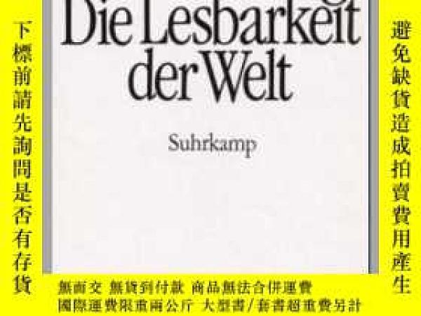 二手書博民逛書店Die罕見Lesbarkeit Der WeltY364682 Hans Blumenberg Suhrkam