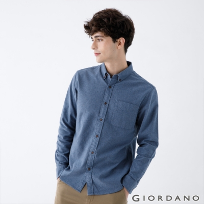 GIORDANO 男裝法蘭絨磨毛長袖襯衫-05 藍