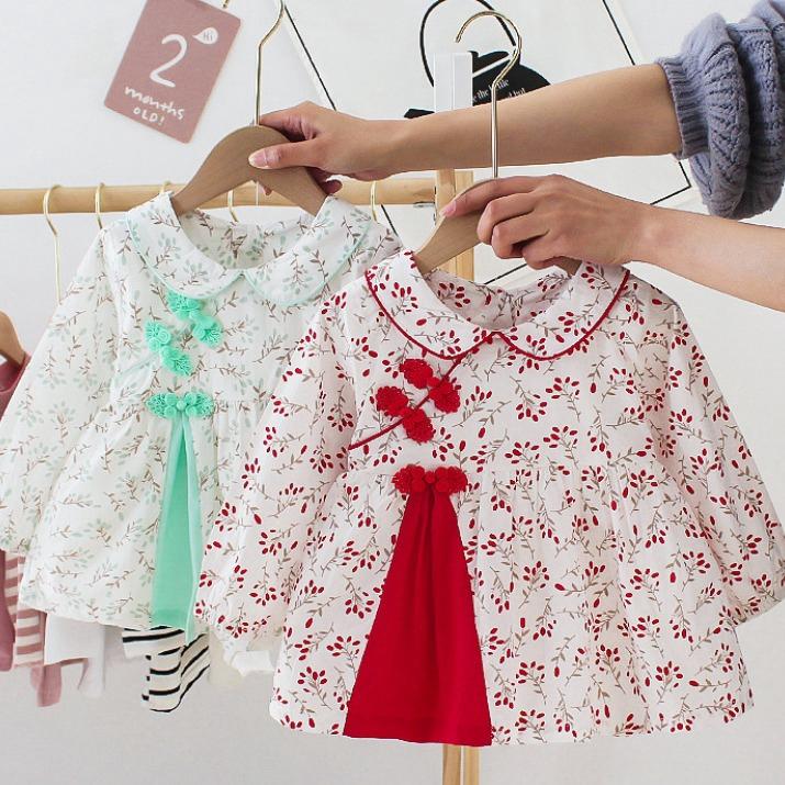 女童優雅中國風印花長袖洋裝 小童洋裝 寶寶洋裝 女童連衣裙 女童洋裝 中小童洋裝【蘋果小舖】(RE)2011 A6