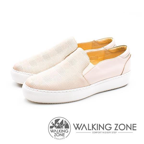 【南紡購物中心】WALKING ZONE (女)格子壓紋直套鬆糕鞋-粉(另有黑)