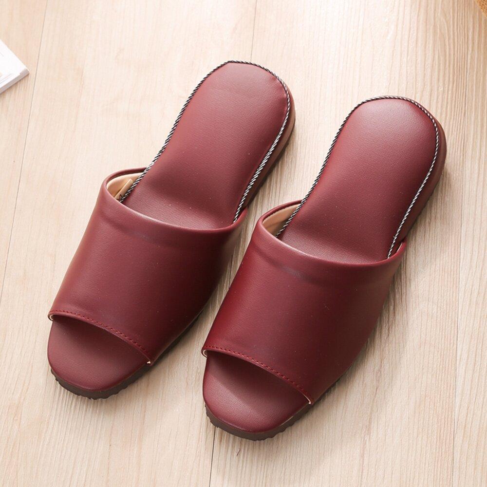 【333家居鞋館】低調迷人★法系優雅舒適皮拖鞋-紅色