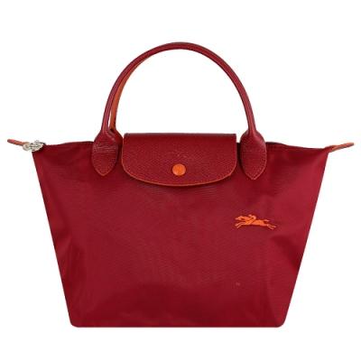 Longchamp Collection尼龍布刺繡品牌短把水餃包(酒紅/小)