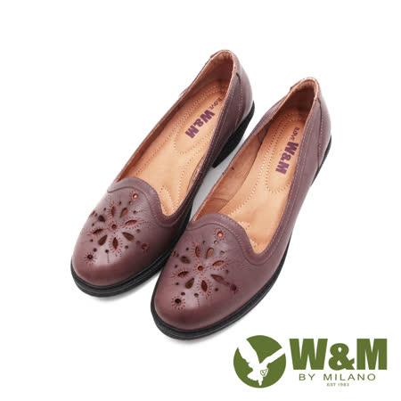 W&M(女)車線雕花粗跟厚底中跟鞋 女鞋-咖(另有黑)