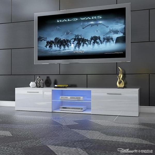 跨境時尚北歐高光LED電視櫃 視聽櫃茶幾訂製 多功能收納電視櫃【快速出貨】