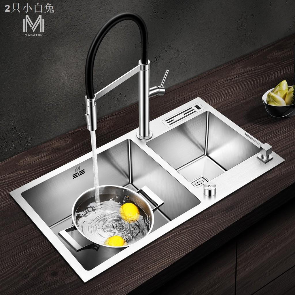 ◙曼巴頓304不銹鋼手工水槽雙槽大小廚房洗菜盆臺下加厚套餐帶刀架