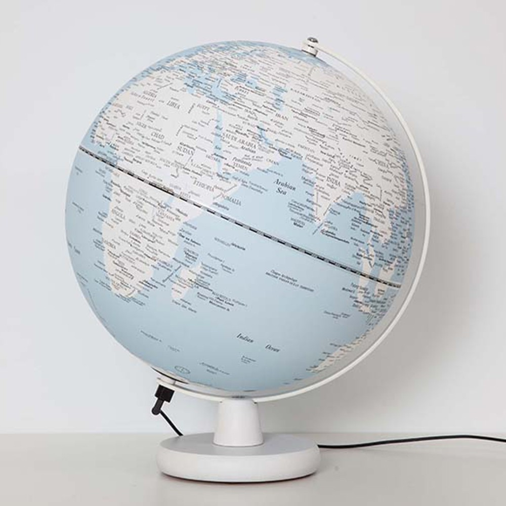 【Skyglobe】12吋藍海白陸地木頭底座地球儀(英文版)《屋外生活》