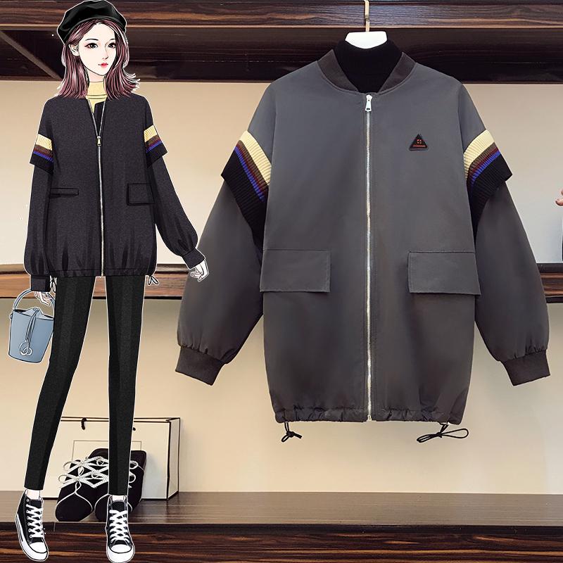 【品質優選】 2020冬裝新時尚胖妹妹刷毛加厚棒球服棉衣寬鬆外套棉服