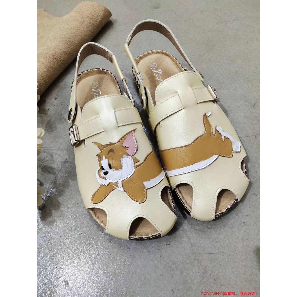 『超火女鞋』638-35夏日森林女系卡通可愛半拖學院低幫防滑平底涼鞋