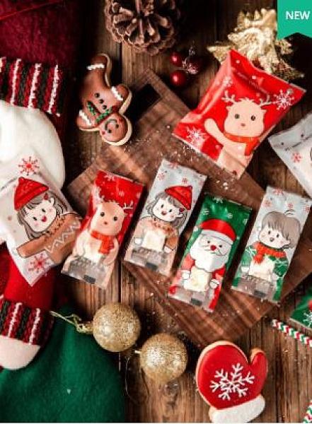圣誕節雪花酥牛軋糖包裝袋牛扎糖曲奇餅干盒糖紙小機封袋子糖果紙