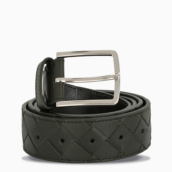Bottega Veneta Green/silver intreccio weave belt