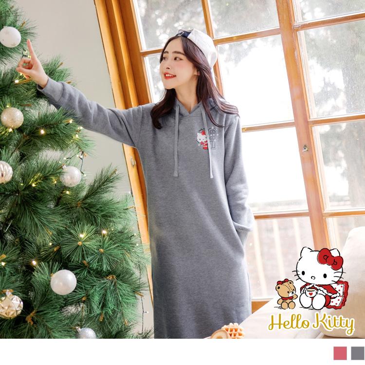 KITTY聖誕系列~內刷毛印圖側開衩連帽抽繩長版洋裝