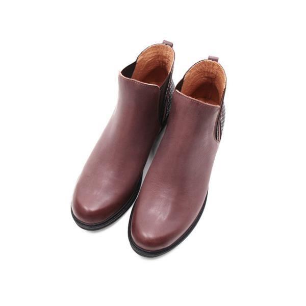 WALKING ZONE (女)造型拼接粗跟短筒靴 女鞋-咖(另有黑)