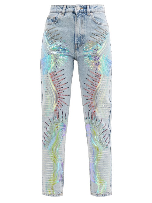 Germanier - Upcycled Swarovski-crystal Abstract-print Jeans - Womens - Denim Multi
