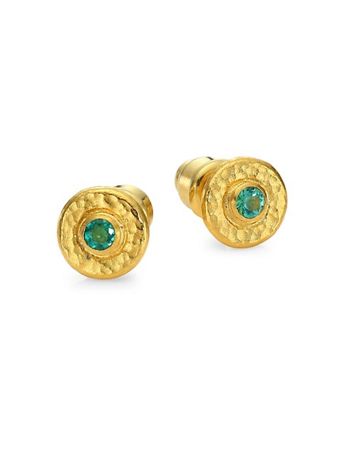Droplet 24K Yellow Gold & Emerald Stud Earrings